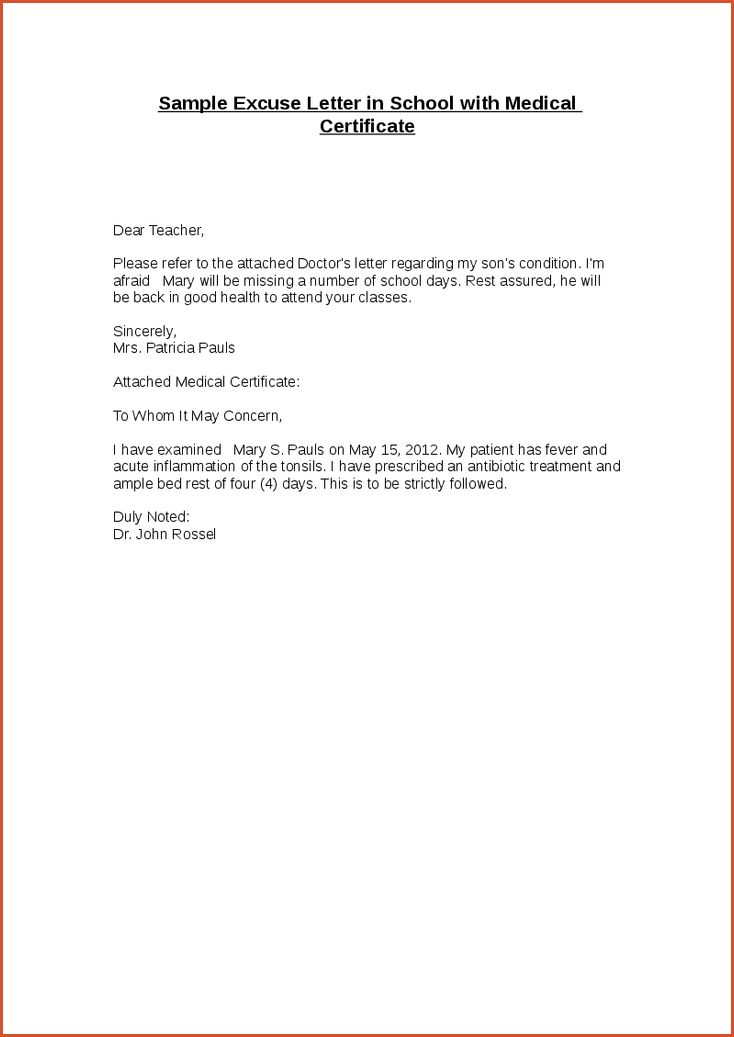 SCHOOL EXCUSE NOTE.sample Excuse Letter In School With Medical ...