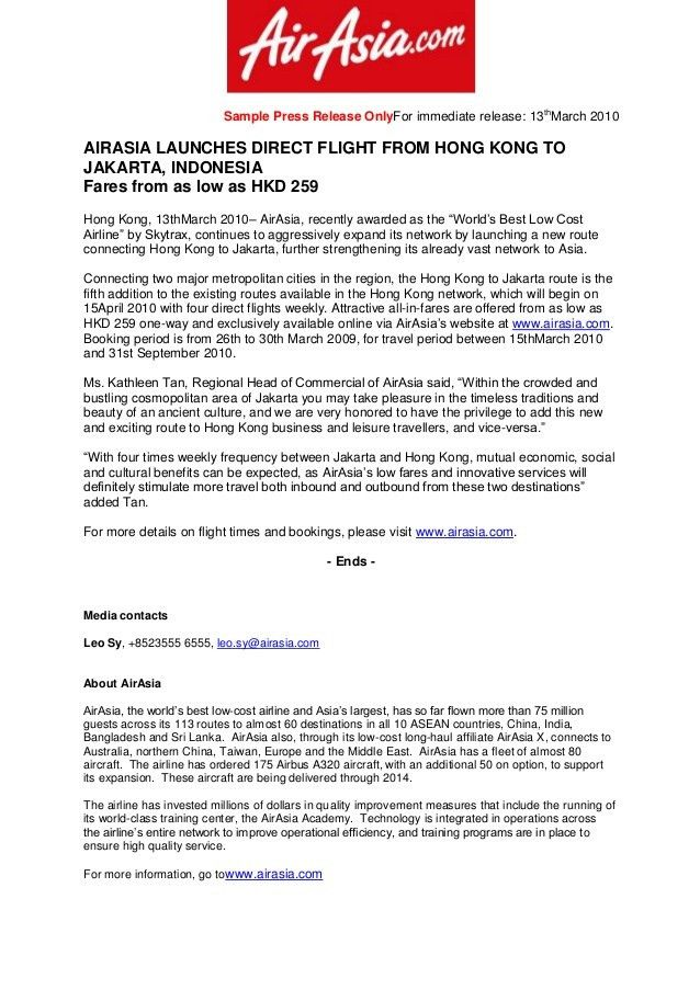 Sample Press Release for AirAsia