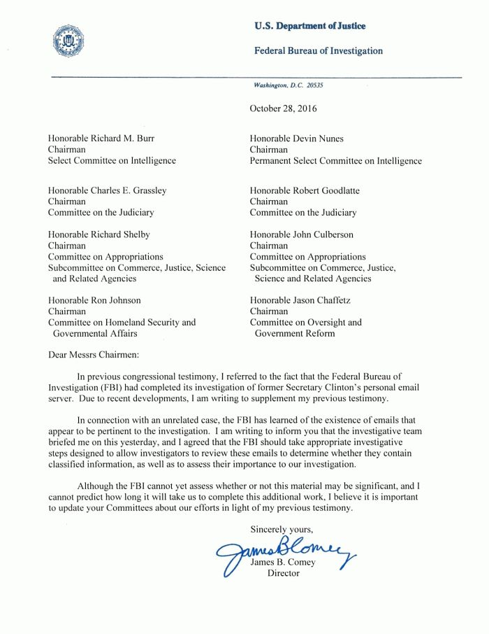 Dailystatus Prepossessing Letter To Congress From Fbi Director On ...