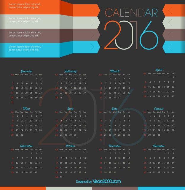 2016 Calendar Template Vector Free Download - Vecto2000.com