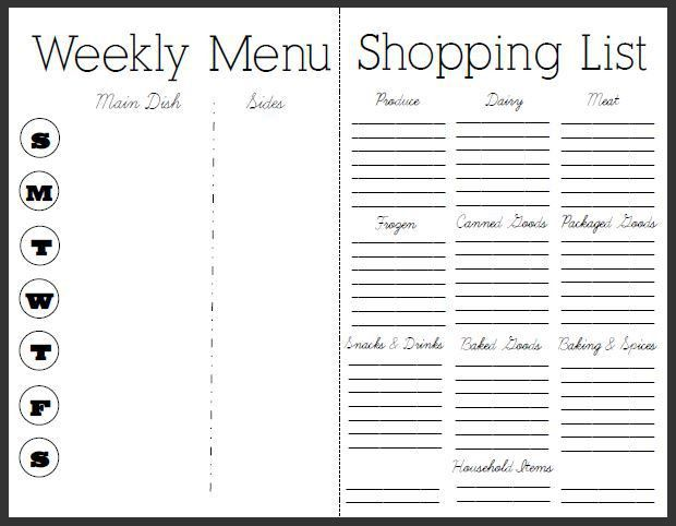 Meal Planning And Grocery List | grocery list template