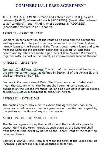 Car Lease Form Commercial Property Lease Agreement Lease 103 ...