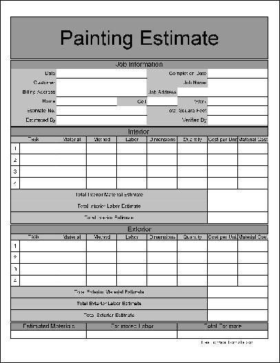 Free Wide Numbered Row Painting Estimate Form from Formville