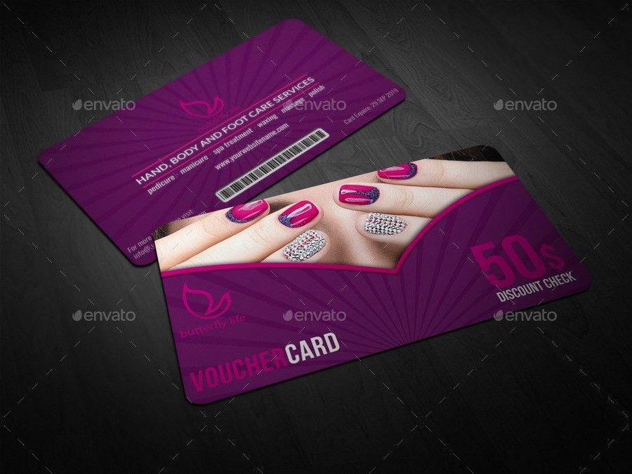 Nail Salon Gift Voucher Card Template by OWPictures   GraphicRiver