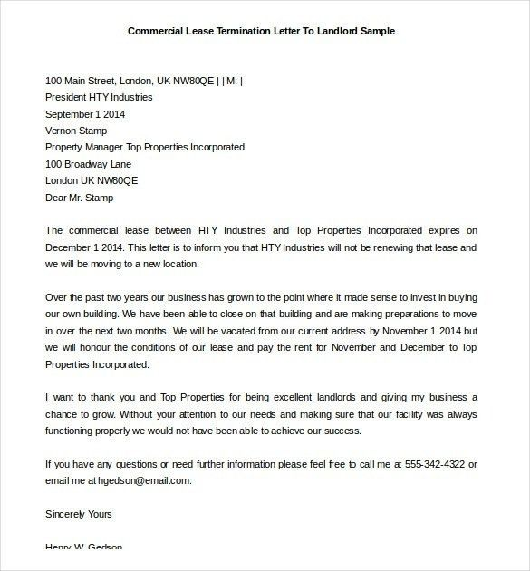 Sample Letter To Landlord To Terminate Lease | The Best Letter Sample