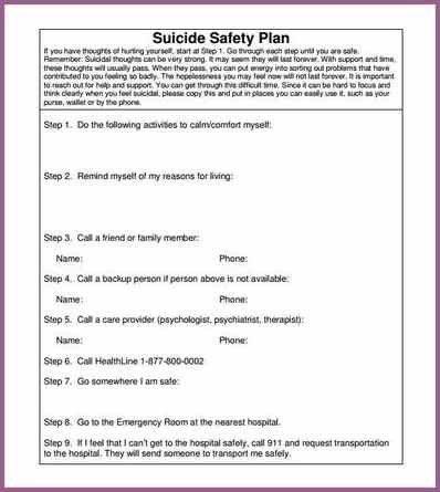 MENTAL HEALTH SAFETY PLAN TEMPLATE | designproposalexample.com