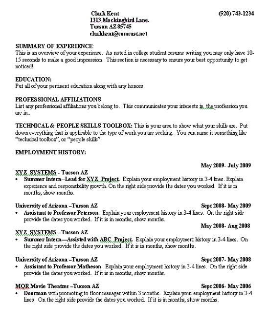 Job Resume Samples For College Students | Experience Resumes