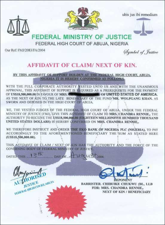 30 phony documents used in Nigerian 4-1-9 frauds and car buying scams
