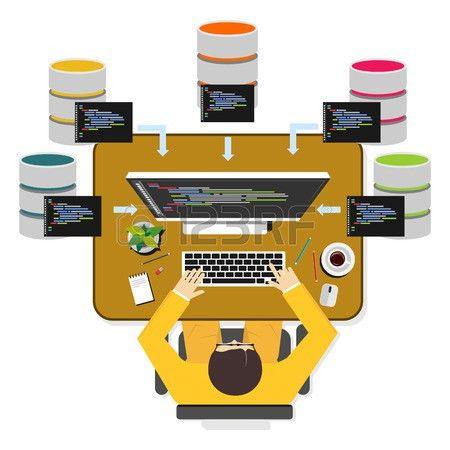 Database Programmer Or Database Administrator Working Concept ...