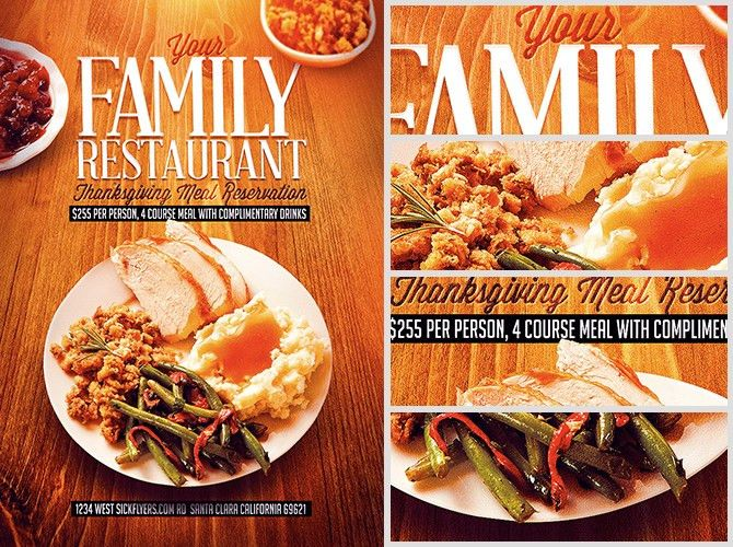 Thanksgiving Restaurant Flyer Template - FlyerHeroes