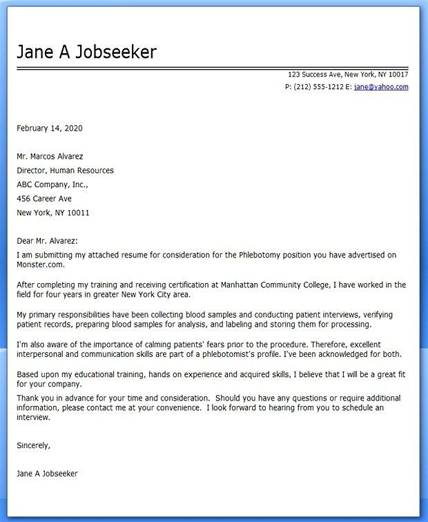 8 Entry Level Phlebotomist Cover Letter Cover Letter sample letter ...