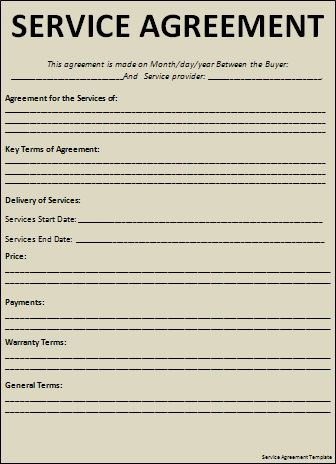agreement template for service format of service. service contract ...