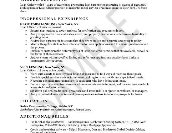 Loan Officer Resume Example career objective professional ...