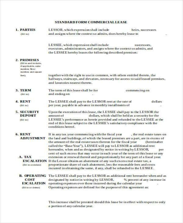 Sample Rental Lease Agreement Form - 6+ Examples in Word ,PDF