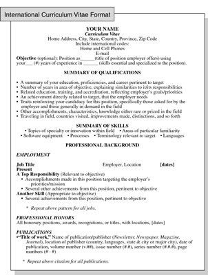 International Curriculum Vitae Resume Format for Overseas Jobs ...