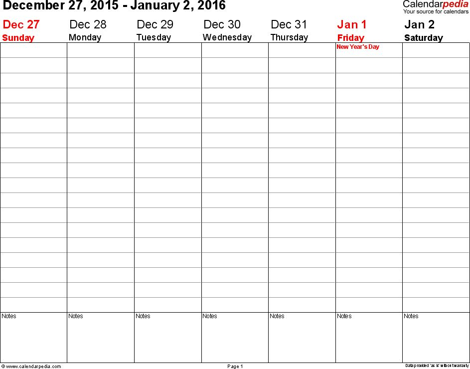 Weekly calendar 2016 for Word - 12 free printable templates