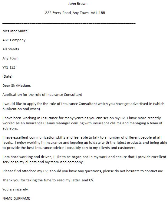 Insurance Consultant Cover Letter Example - icover.org.uk