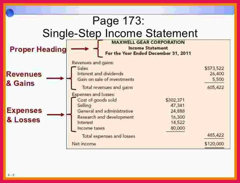 single step income statement   sop examples