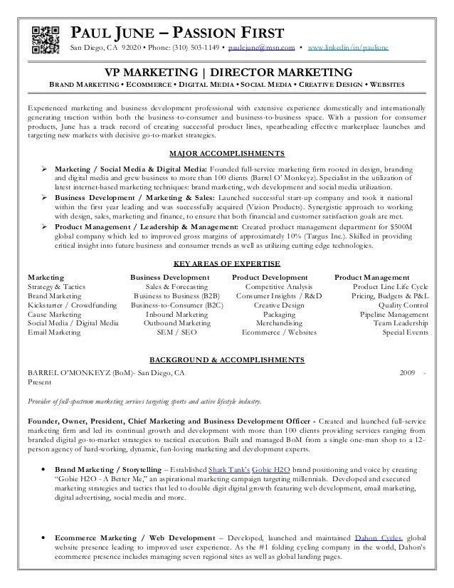 Paul June 12-12-16 Resume -VP Marketing