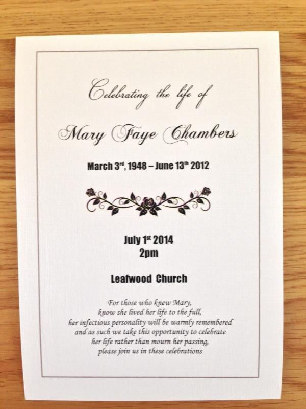 25 x Personalised Funeral Announcement / Invitation cards A6 FREE ...