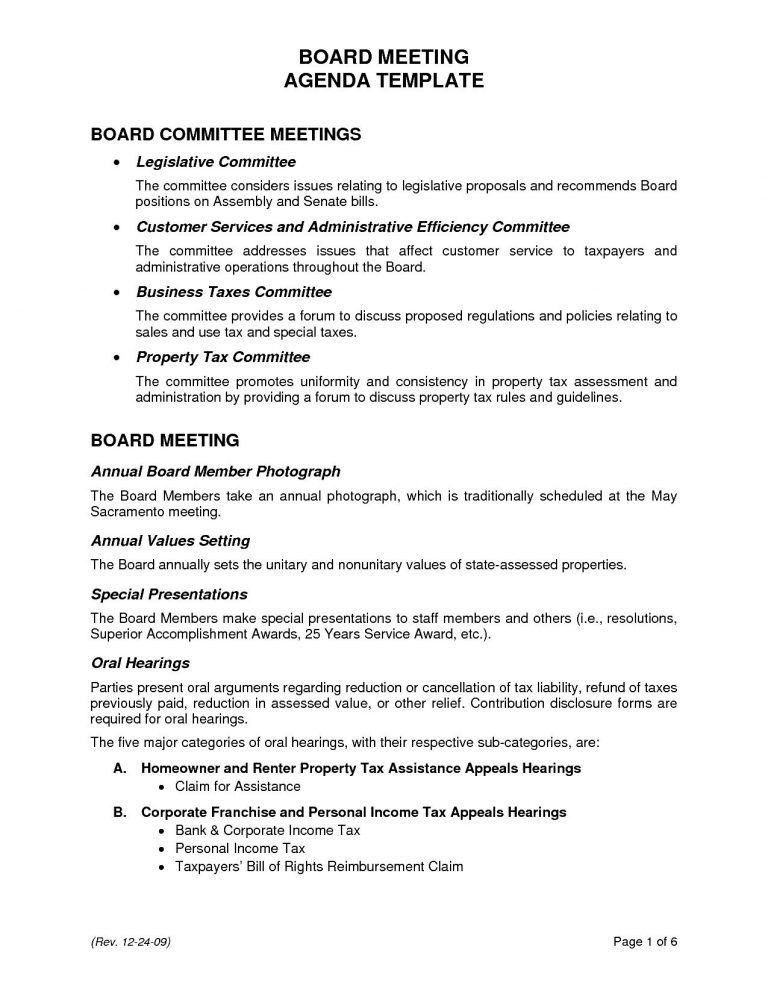 Agenda For Board Meeting Template | Professional Templates