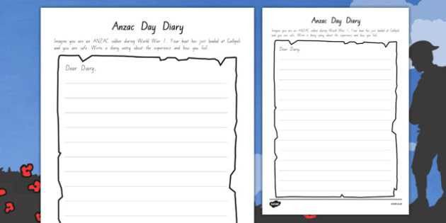 Anzac Day Diary Writing Template - writing, diary, Anzac
