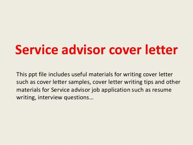 Create My Cover Letter. Brilliant Automobile Service Advisor Cover .