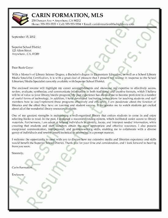 Librarian Media Specialist Cover Letter Sample | Teacher and ...