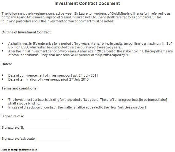 9 Best Images of Investment Contract Agreement Between Two Parties ...