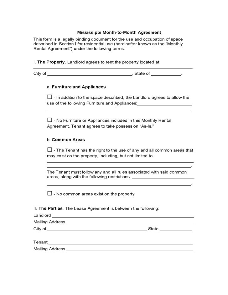 Mississippi Month-to-Month Lease Agreement Free Download