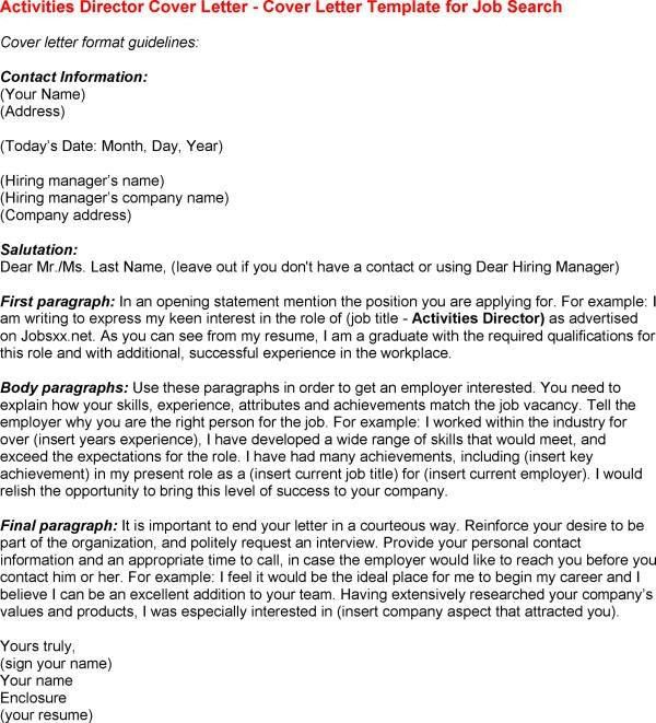 Activities Manager Cover Letter] Download Recreation Cover Letter