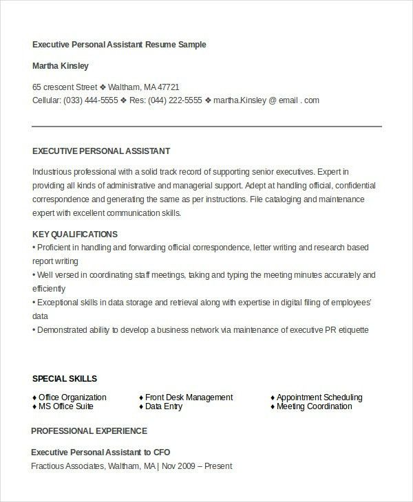 Executive Assistant Resume - 7+ Free WOrd, PDF Documents Download ...