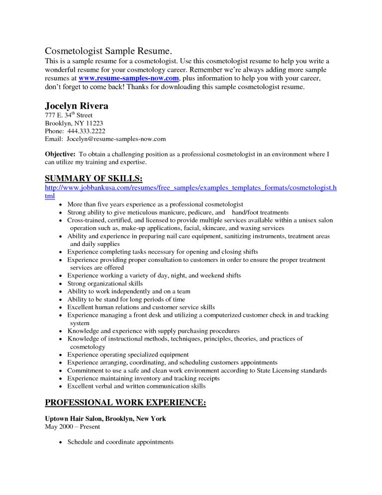Fantastic Resume For Cosmetology 14 Cosmetology Resume Skills ...
