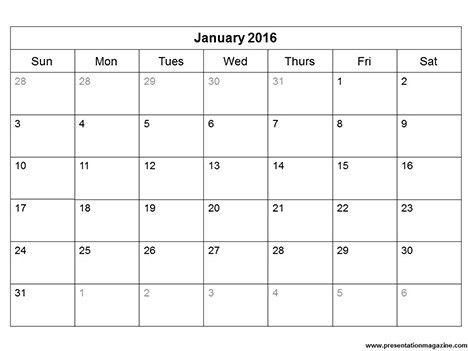 Free 2016 printable calendar template (Sunday Start)