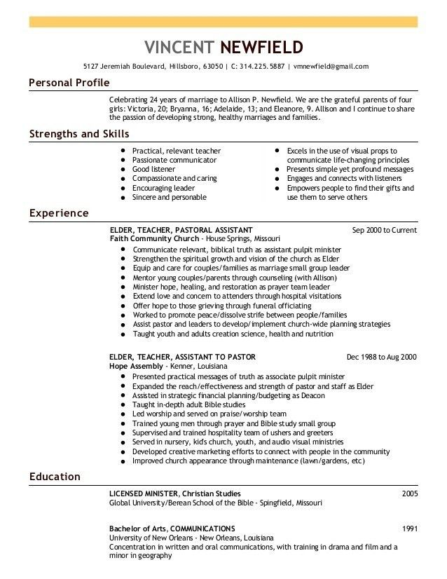 ministry resume sample 2016 inside ucwords. pastor resume resume ...