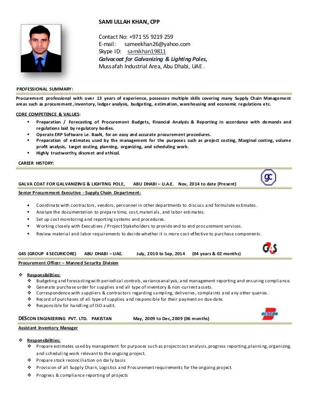Sensational Design Ideas Procurement Resume 1 Procurement Manager ...