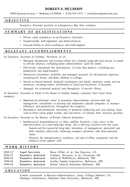 Executive Assistant Resume Samples | berathen.Com