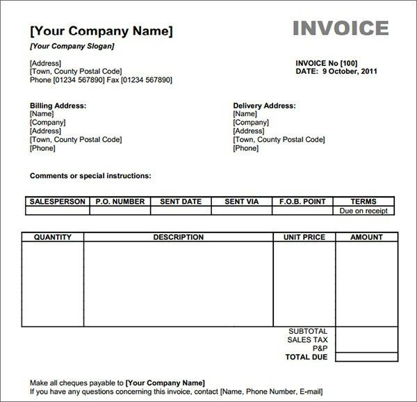 Invoice Template Example | printable invoice template