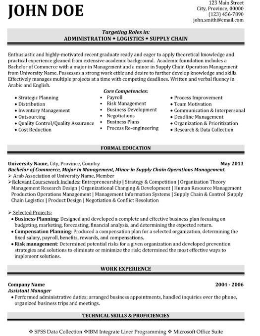 Administration Logistics Resume Template | Premium Resume Samples ...