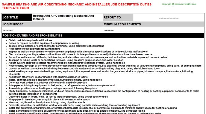Air Conditioning Coil Assembler Job Descriptions