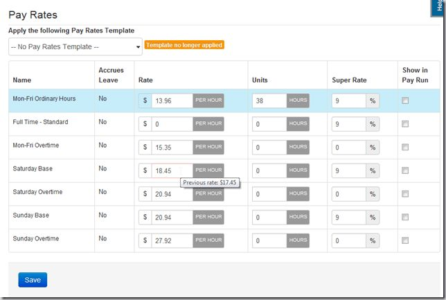 Pay Rate Templates – Payroll Support