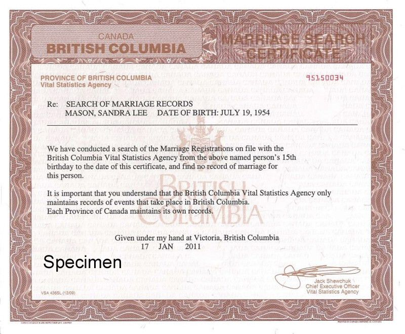 Search of Marriage Records to Prove Freedom to Marry - Province of ...