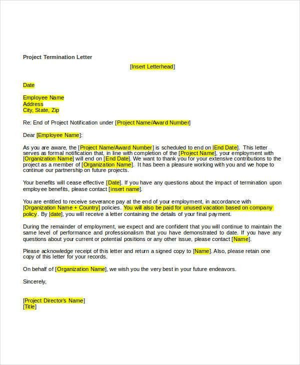 Free Termination Letter Templates - 38+ Free Word, PDF Documents ...