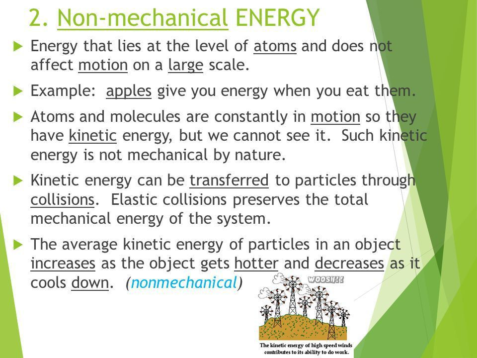 Forms of Energy Mechanical Energy and Non-mechanical Energy. - ppt ...