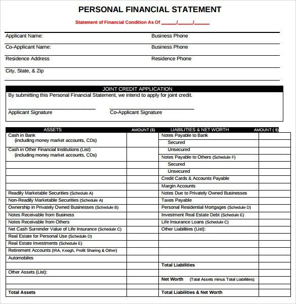 Personal Financial Statement - 11+ Documents In PDF, Word