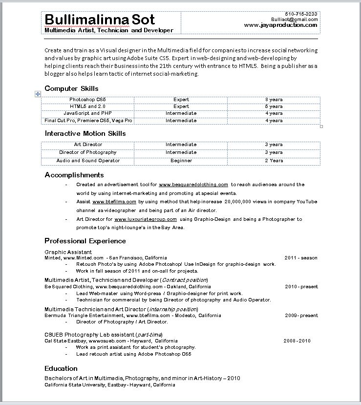 how do a resume look