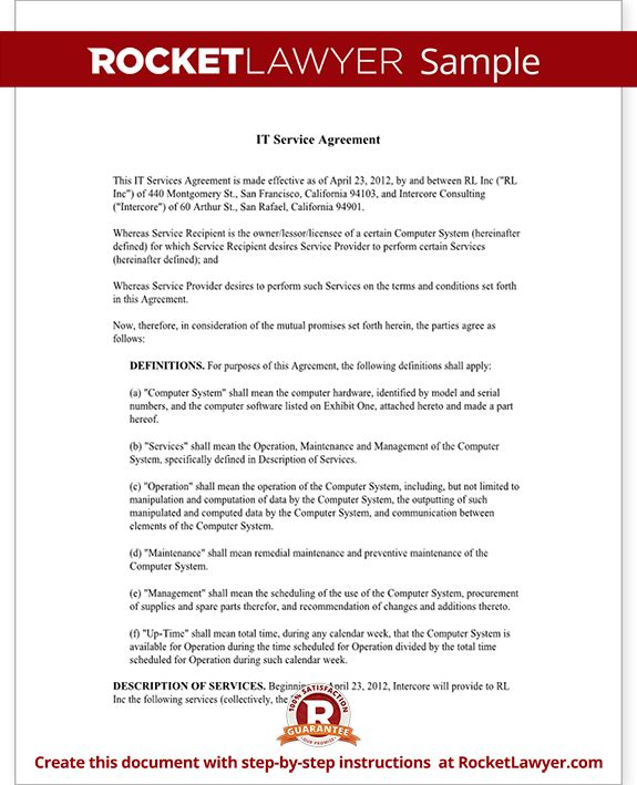 IT Service Contract Agreement Template (with Sample)  It Service Agreement Template
