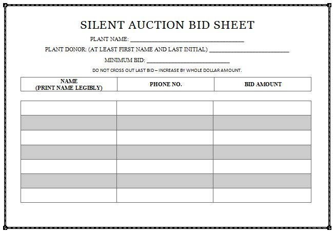 Silent Auction Bid Sheet Templates in Word - Printable ...