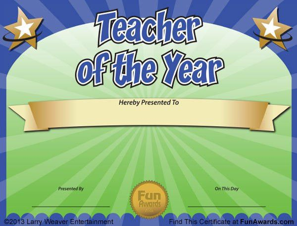Funny Teacher Awards - 101 Printable Certificates, Fun Award Ideas ...