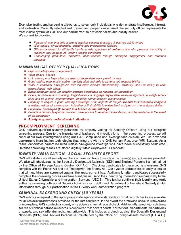 G4s Security Officer Sample Resume Security Guard Cover Letter